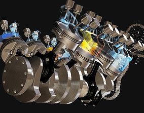 3D model realtime Engine V8 animated rigged