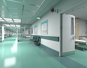 3D Hospital Ward And Hallway ward