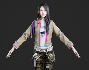 Asian modern style beautiful girl pretty 3D model 2