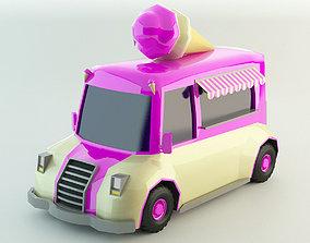 Low Poly Ice-Cream Van lowpoly 3D