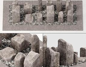 3D model Square stone block pebble fundament n1