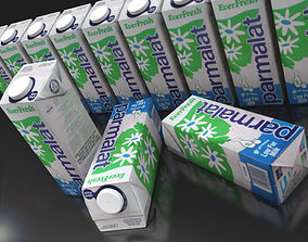 3D model milk or juice carton textured as milk pack