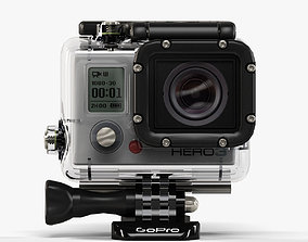 3D model GoPro Hero3 action camera with Waterhousing
