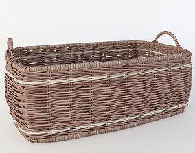 wicker basket with handles 3D