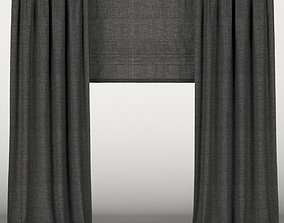 3D Black curtains with roman blinds