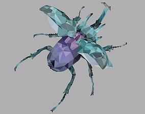 Chafer Firefly Beetle Low Polygon Art Insect 3D model