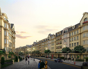 European Style Street with Buildings 3D