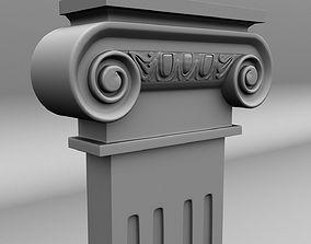 Scroll Flat Column 3D model low-poly