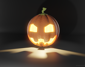 Halloween Jack-o-lantern pumpkin - high-polygon detail 3D