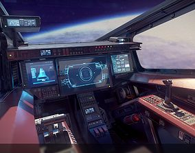 Sci Fi Fighter Cockpit 5 3D asset