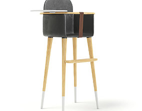 3D model Feeding Chair with Black Seat