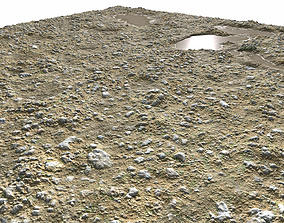 Rocky terrain with puddles 2 PBR 3D model