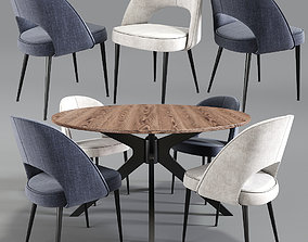 Modern Collins Dining Chair Table Set 3D