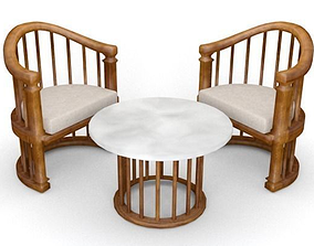 Balinese Teakwood Table and Chairs 3D model