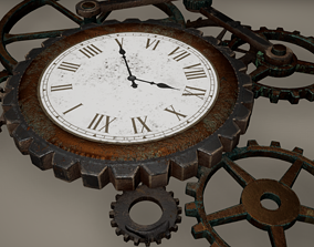 3D model Gear Clock Low poly Game Ready