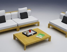 Exterior chairs and table 3D