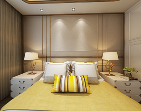 interior 3D Hotel Guest Room bedroom European style