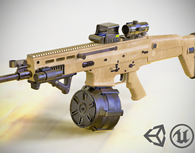 FN SCAR - H - MK 17 - With Attachments - Highly 3D asset 2