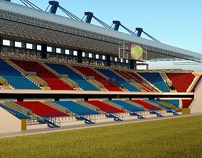 Stadium seating tribune wide high detail 3D model
