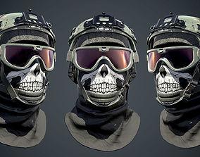 3D asset Low poly Military Helmet