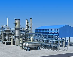 exterior Refinery 3D model low-poly