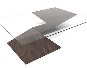Pyramid Shaped Wood and Glass Coffee Table 3D model