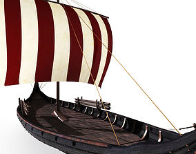 3D asset Oseberg Viking ship 2