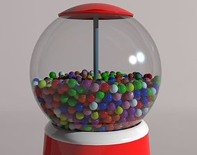 Retro gumball machine 3D model
