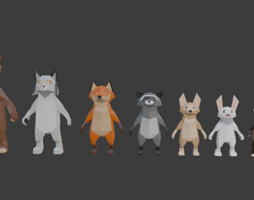 Low Poly Animal Character Collection 3D model
