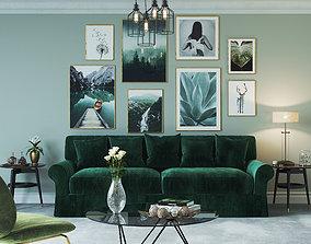 Realistic Scandinavian Interior Green Nature Design 3D 1