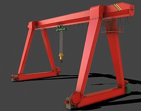3D model PBR Single Girder Gantry Crane V1 - RED