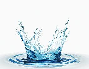 Crown splash water liquid 3D