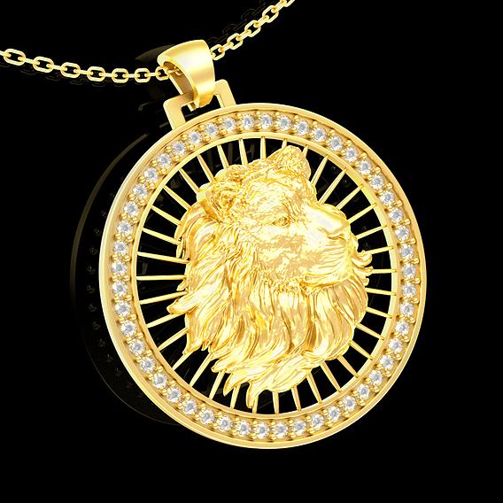 Lion portrait pendant jewelry gold necklace medallion Diamond 3D print model