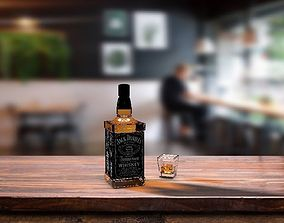 3D model Jack Daniels and Whiskey Glass