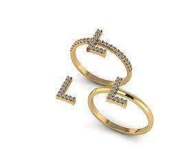 3D print model Alphabet letter ring L
