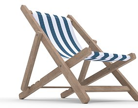 Beach chair Deck chair blue 3D asset