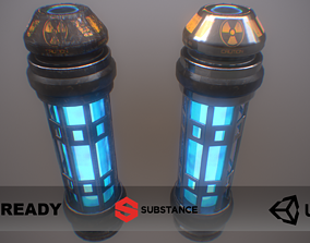PBR Retro Sci-Fi Energy Cell UPDATED WITH LODs 3D asset