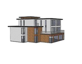 Contemporary style 5 apartment block 3D