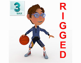toon boy basketball character created for 3D asset