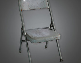 3D asset Folding Metal Chair TLS - PBR Game Ready