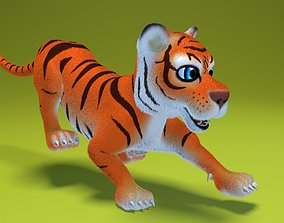 cartoon tiger 3D asset animated realtime