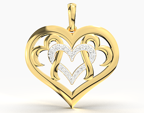 3D printable model luxury HEART DIAMOND PENDANT