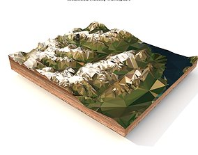 3D asset game-ready Mountain landscape