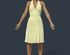 Animated Woman Summer dress - A-pose - Mich 3D model