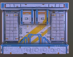 3D model Low poly dci fi space station wall facade pattern