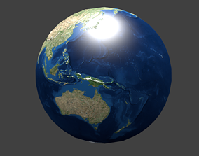 Earth ball-shaped 3D model low-poly