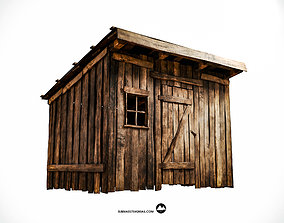 3D asset Old wooden shed