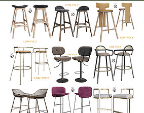 Barstool Collection 10 Pieces 3D asset