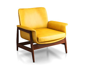 3D Vintage Danish Modern 1960s Bright Yellow Vinyl 1