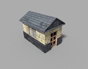 low poly prison building 2 3D asset